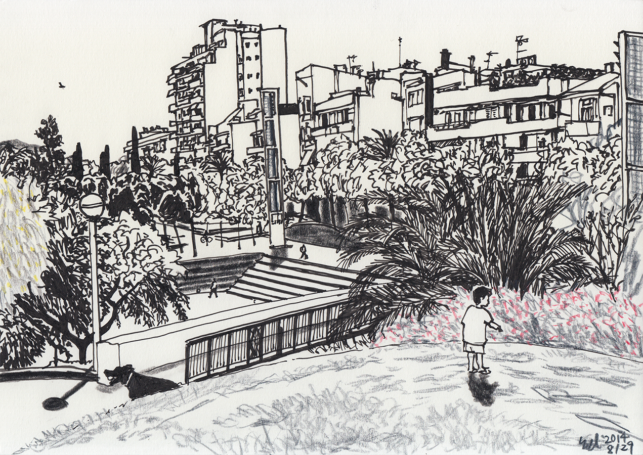 Dibujo de niño y perro en el Parque del Clot de Barcelona