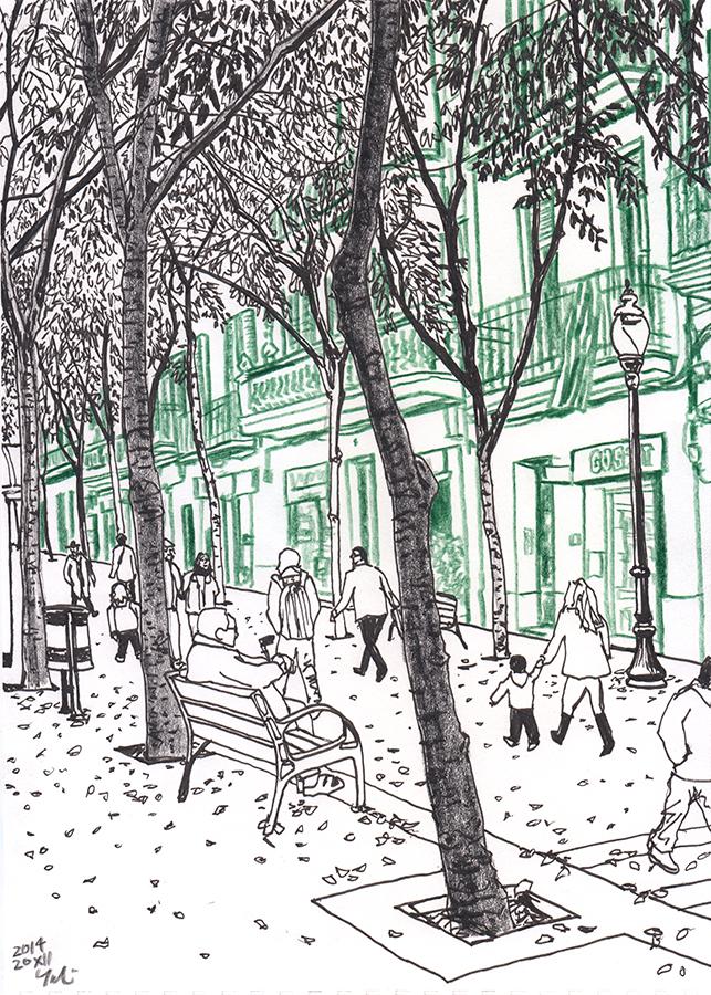 Dibujo de las personas andando por Carrer de Rogent en Clot de Barcelona