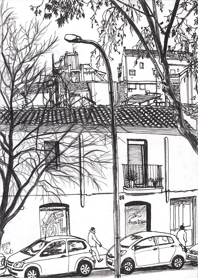 Dibuix de les persones caminant per Carrer del Freser a Camp de l'Arpa de Barcelona