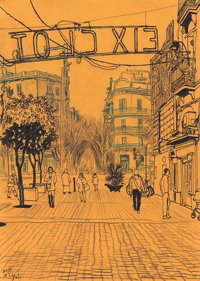 Dibuix en paper taronja hivern de Carrer de Rogent en barri Clot de Barcelona