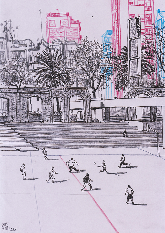 Dibuix d'homes jugant futbol al Parc del Clot de Barcelona