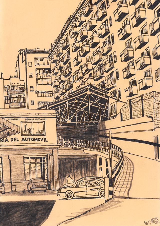 Dibuix en paper beix els balcons sobre de benzinera del passeig de Maragall en barri Clot de Barcelona