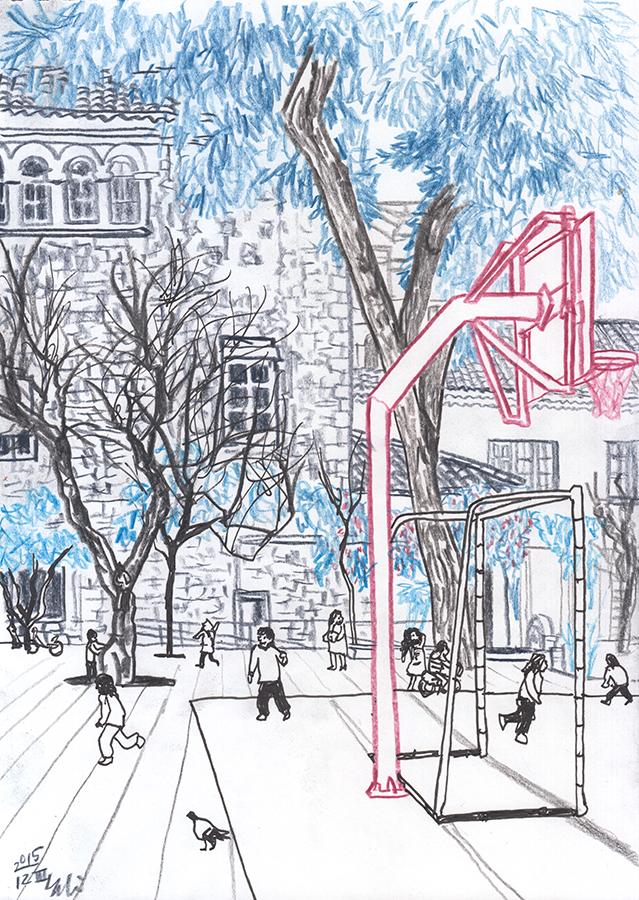 Dibuix dels nens jugant al pati d'Escola Cases a Clot de Barcelona