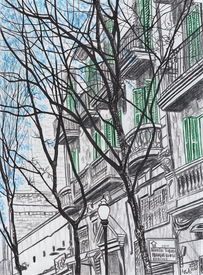 Drawing of the balconies of Carrer de Rogent in the Clot neighborhood of Barcelona