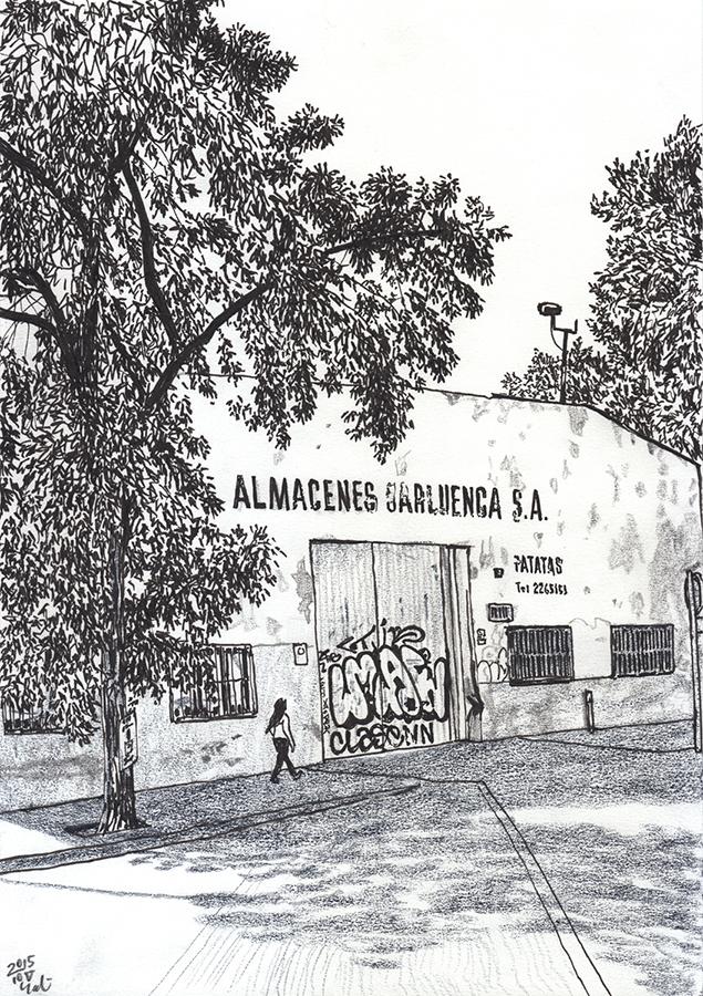 Dibuix d'edifici de magatzem tancat a l'Avinguda Meridiana a Glòries de Barcelona