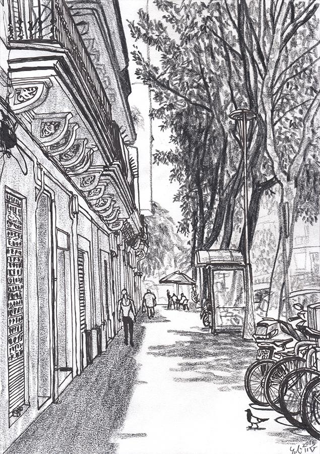 Dibujo de Carrer de Provença en Clot de Barcelona