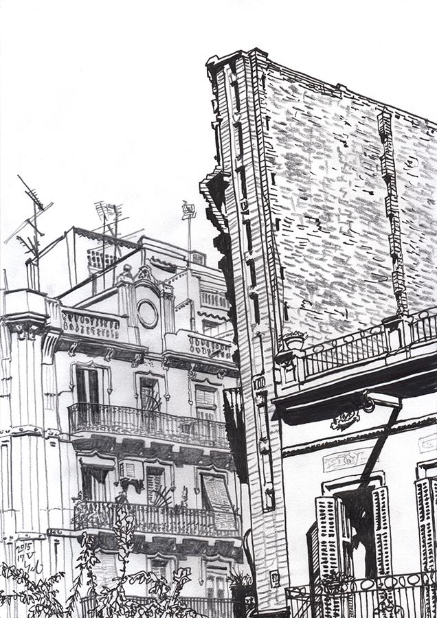 Dibujo de Carrer del Rosselló en Clot de Barcelona