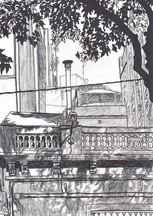 Dibujo de luz y sombra de la Calle del Freser en Camp de l'Arpa de Barcelona