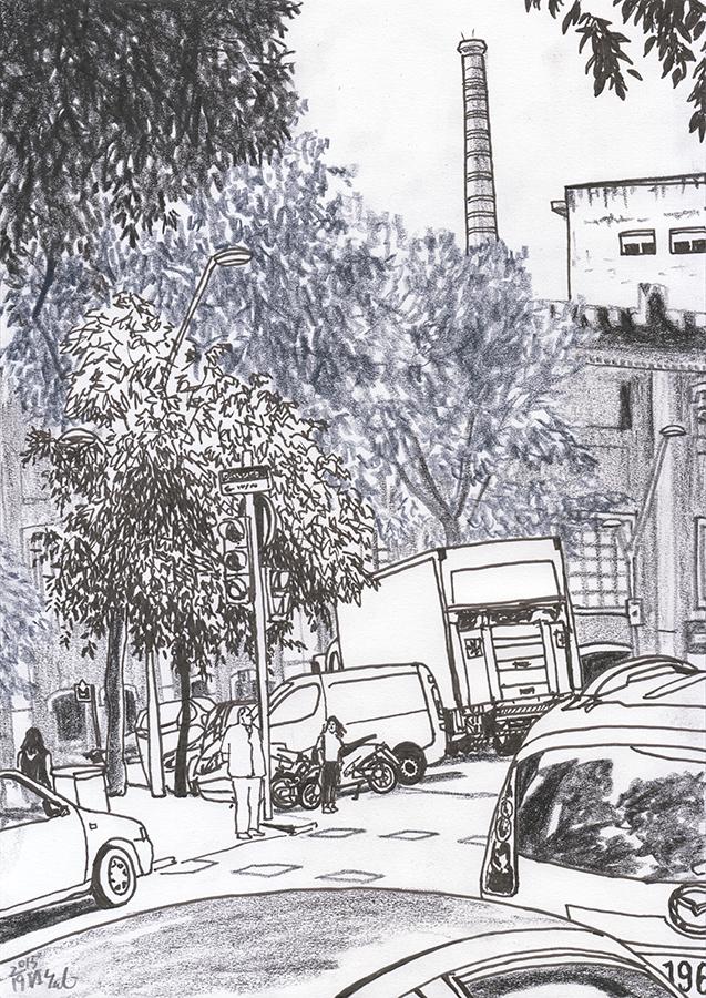 Illustration of Estrella Damm Beer Factory seen from Carrer de Còrsega in Sant Pau Dos de Maig in Barcelona