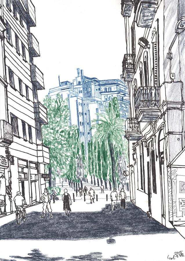 Dibuix de quan arribant al Parc del Clot de Barcelona