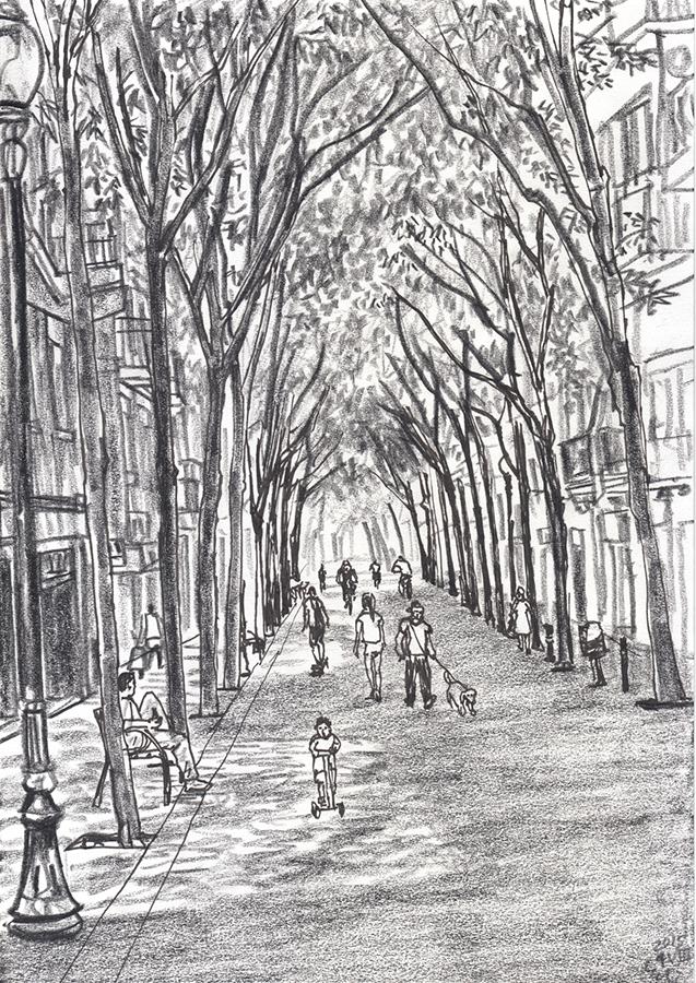 Dibuix de les persones caminant a l'ombra d'Carrer de Rogent a Clot de Barcelona