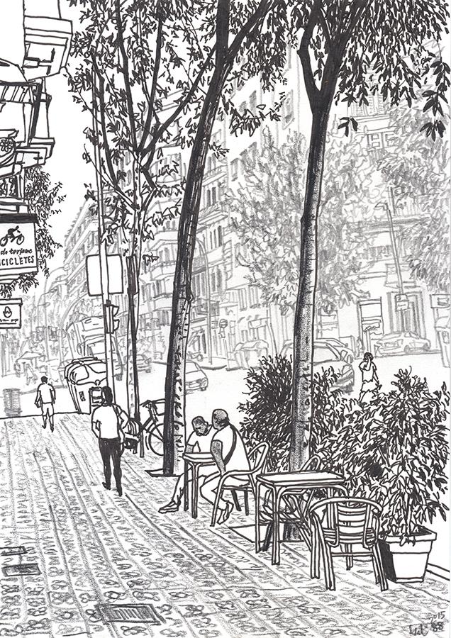 Dibujo de terraza de bar de Carrer de València a Encants de Barcelona