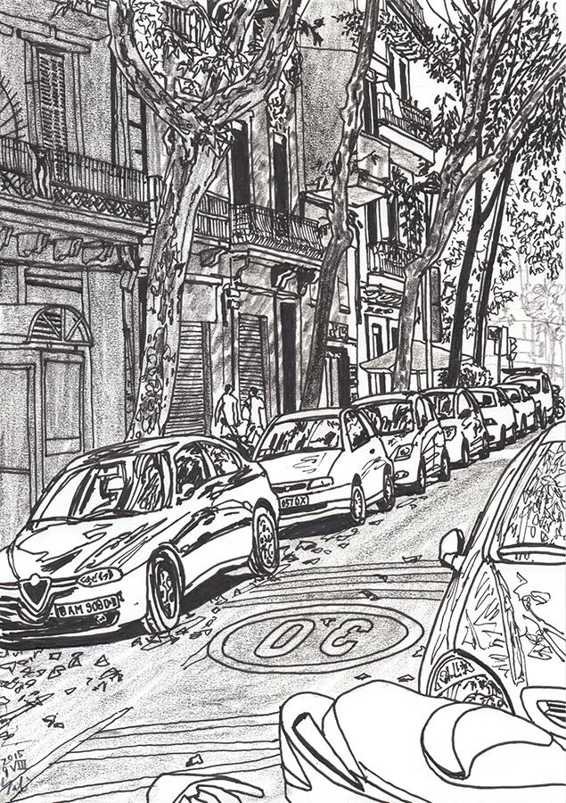 Dibuix de Carrer de Provença en barri Clot de Barcelona