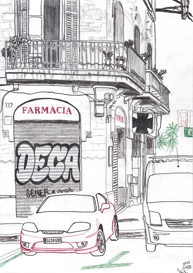 Dibujo de un rincón con graffiti en Avinguda Meridiana en barrio Clot de Barcelona