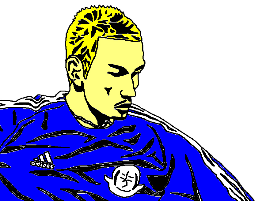 illustration of Hidetoshi Nakata playing football