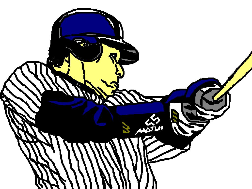 ニューヨーク・ヤンキース松井秀喜のバッティングのイラスト