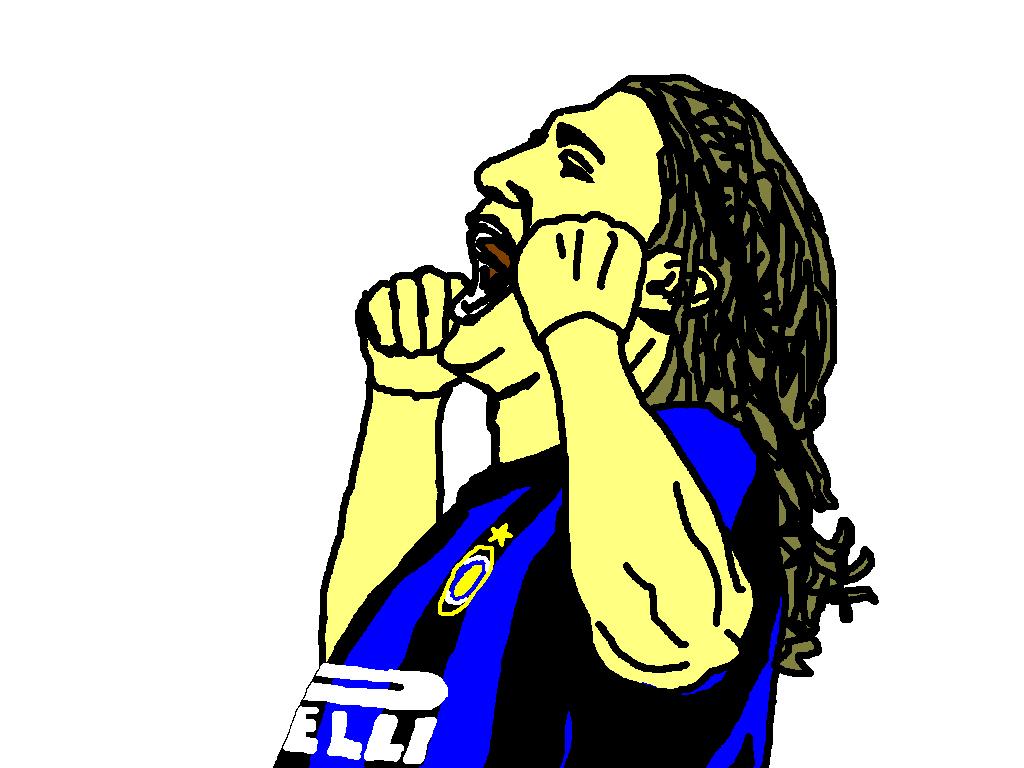 illustration of Inter striker Hernan Crespo celebrating his goal.