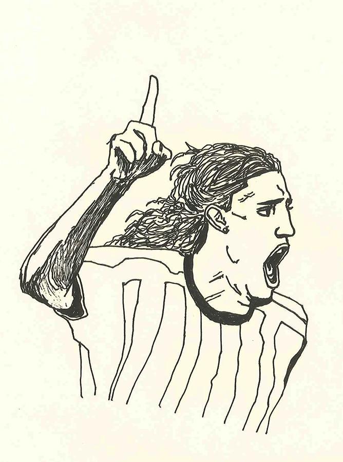 illustration of Inter striker Hernan Crespo scoring a goal.