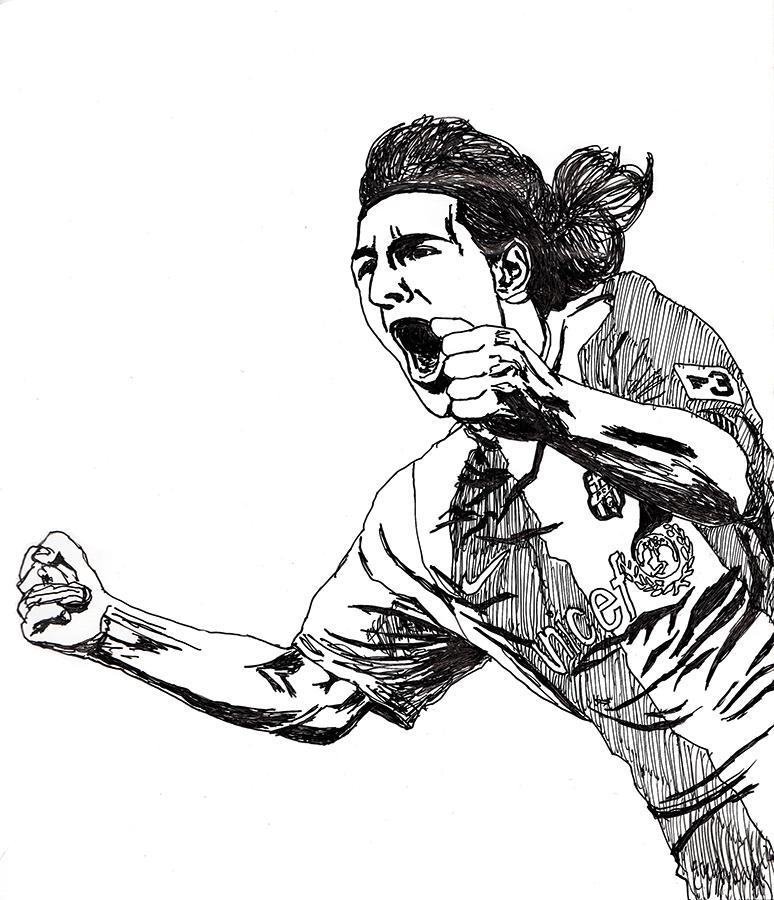 ゴールを決めて喜ぶバルセロナのリオネル・メッシのイラスト