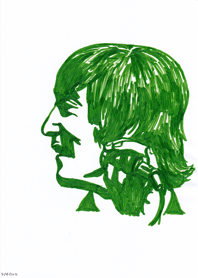 Drawing of young John Lennon painted in green