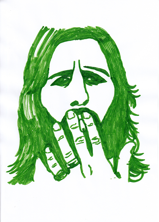 Drawing of Ringo Starr painted in green