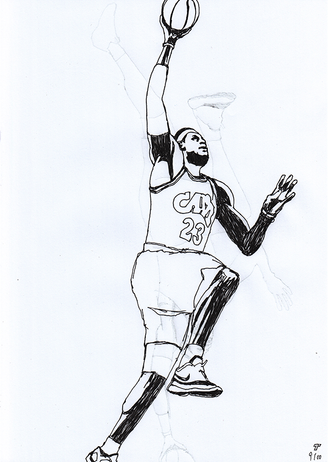 Drawing of Cleveland Cavaliers Lebron James shooting