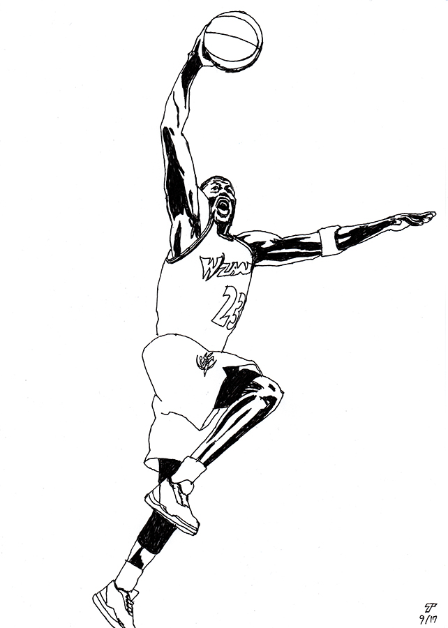 illustration of Washington Wizards Michael Jordan jumps
