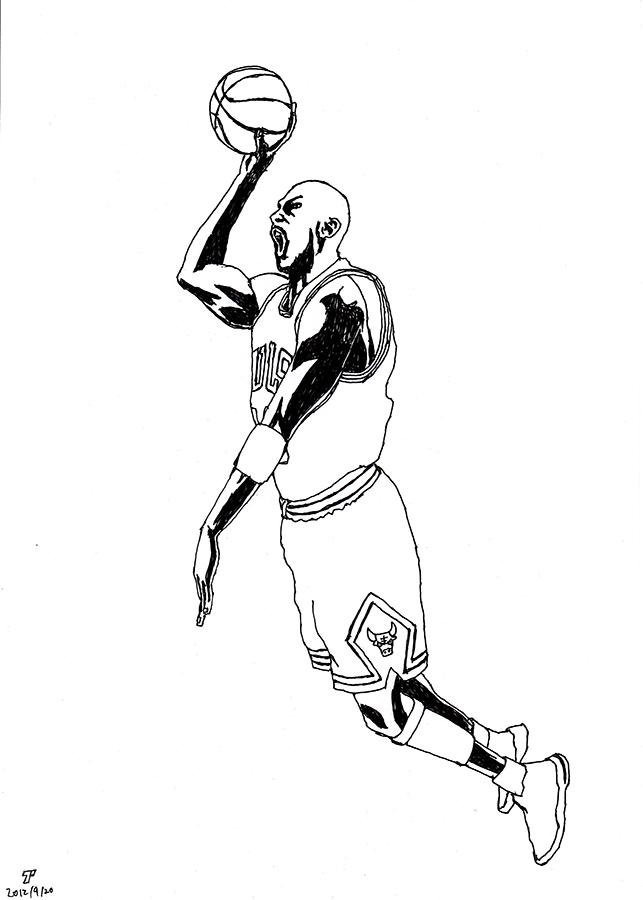 Drawing of Chicago Bulls Michael Jordan dunks