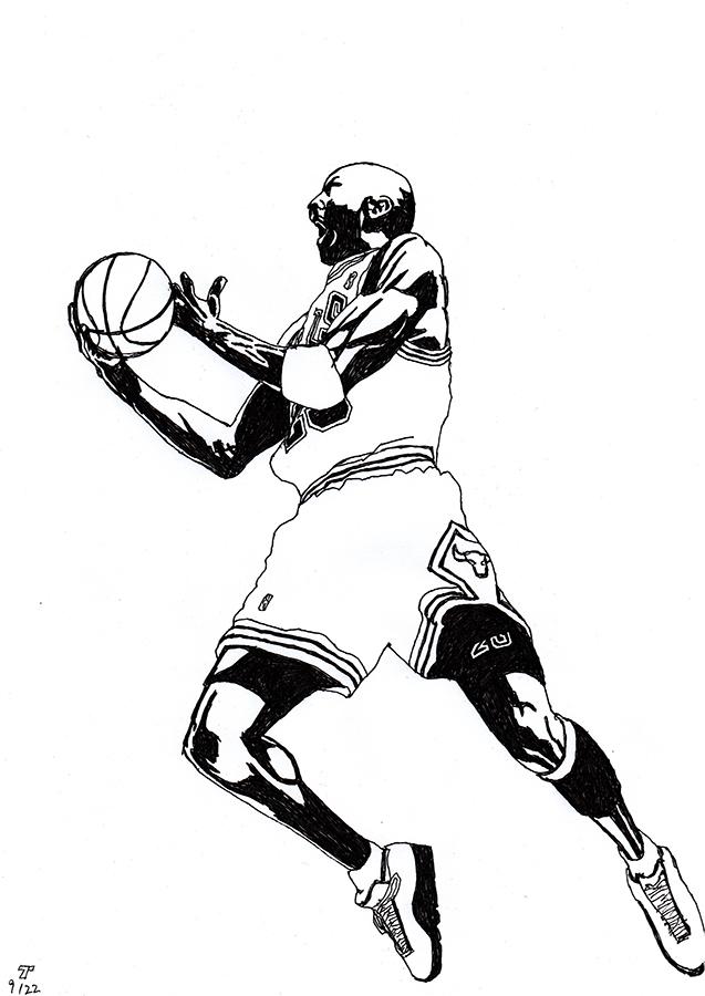 Drawing of Chicago Bulls Michael Jordan shooting