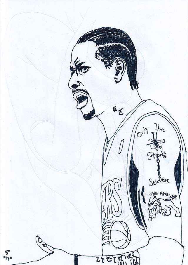 Drawing of Philadelphia 76ers Allen Iverson
