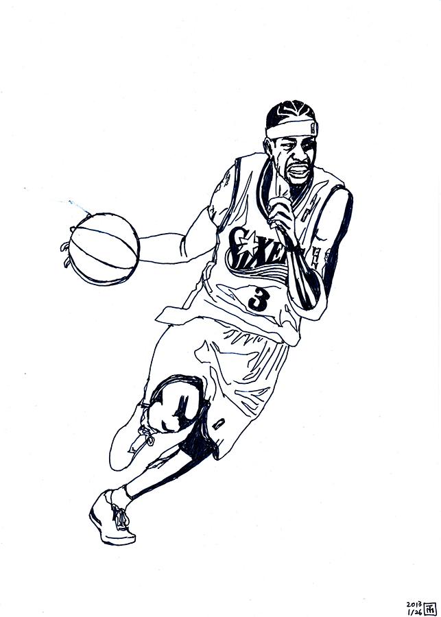 Drawing of Philadelphia 76ers Allen Iverson dribbling