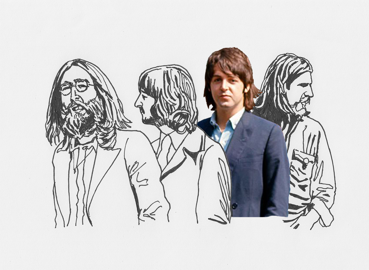 illustration of The Beatles in Abbey Road photo session
