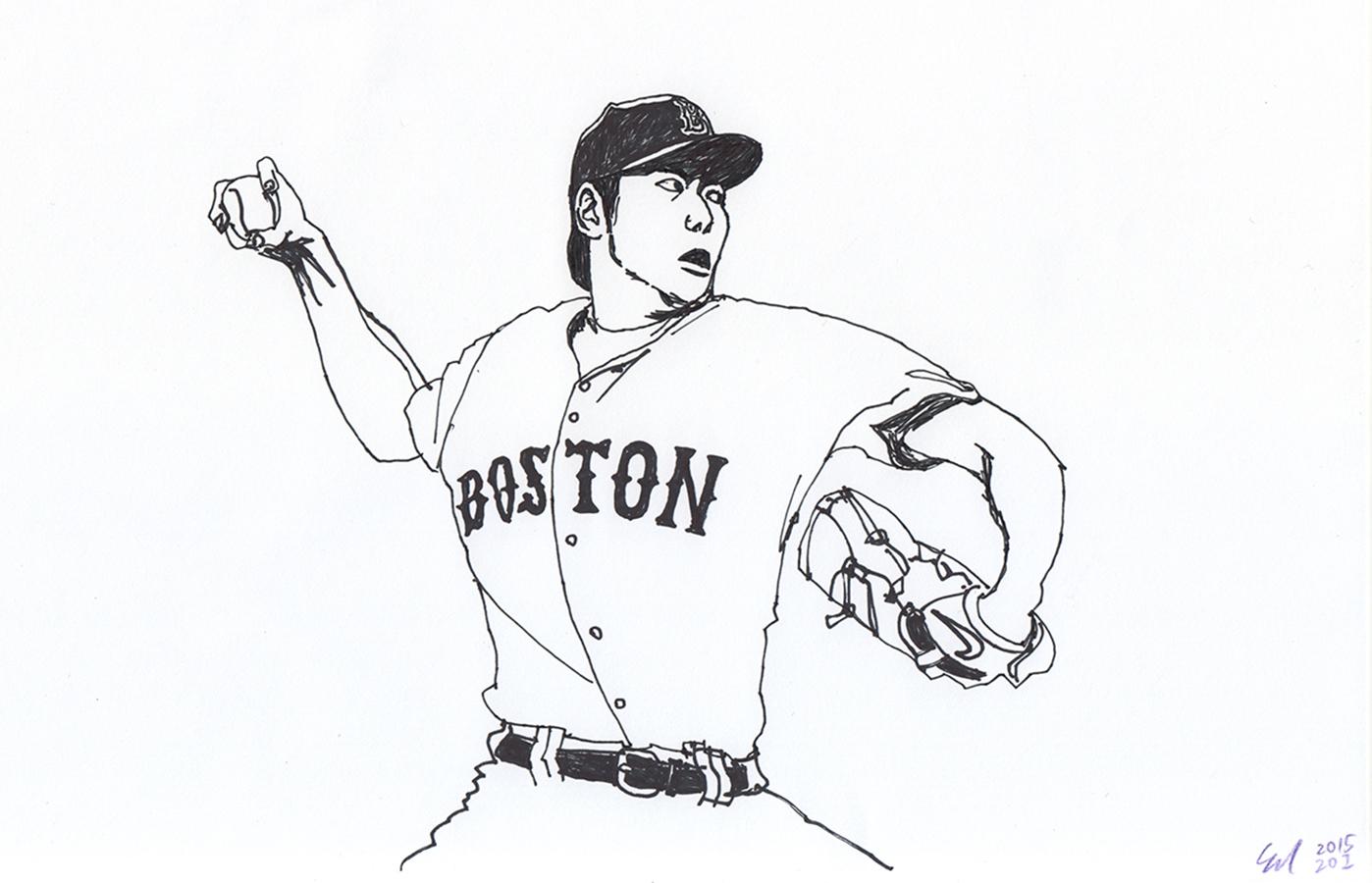 illustration of Boston Red Sox Koji Uehara's pitching