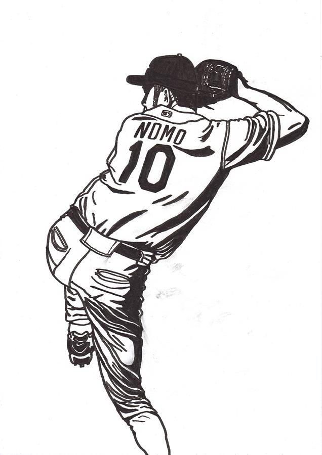 ロサンゼルス・ドジャース野茂英雄のトルネード投法の絵