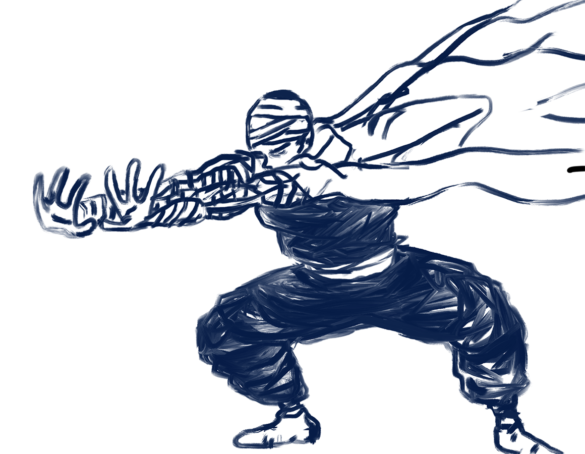 illustration of Dragon Ball character Piccolo drawn by finger