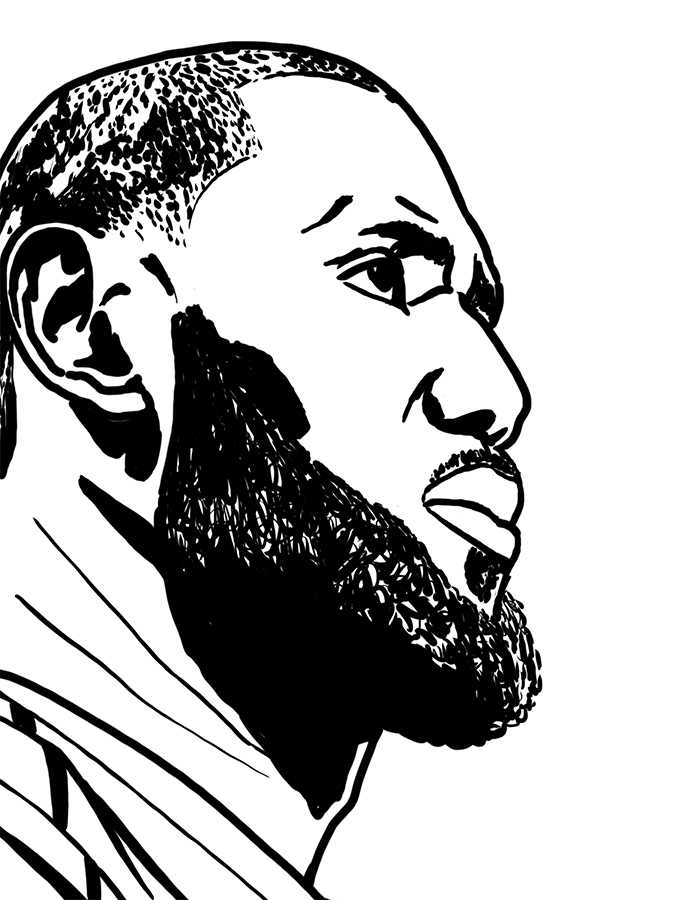 Drawing of Lebron James profile in black and white