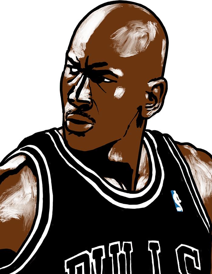 illustration of Chicago Bulls Michael Jordan with black uniform