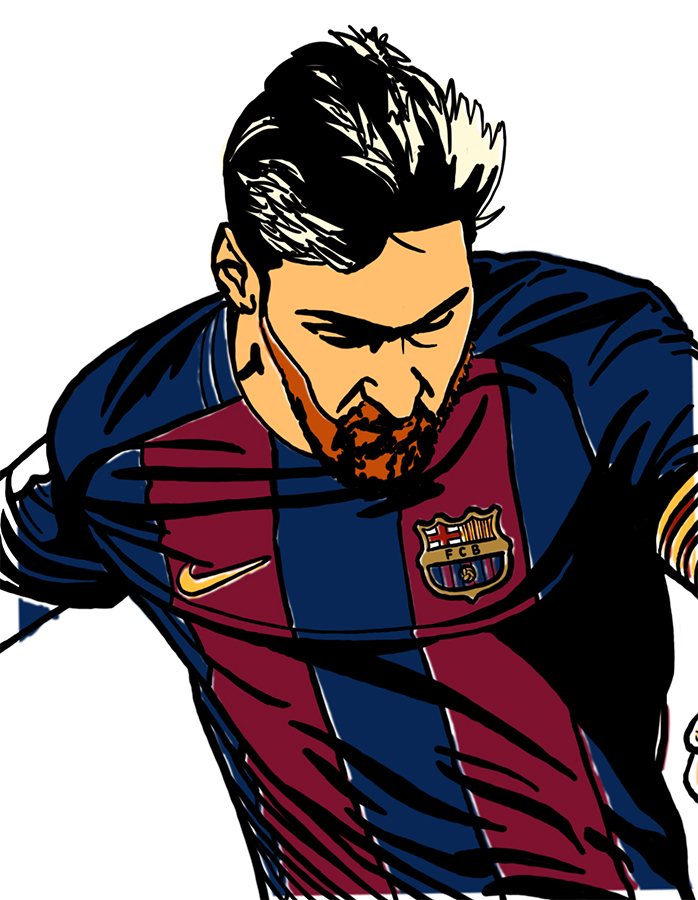 illustration of Leo Messi of FC Barcelona dribbling.