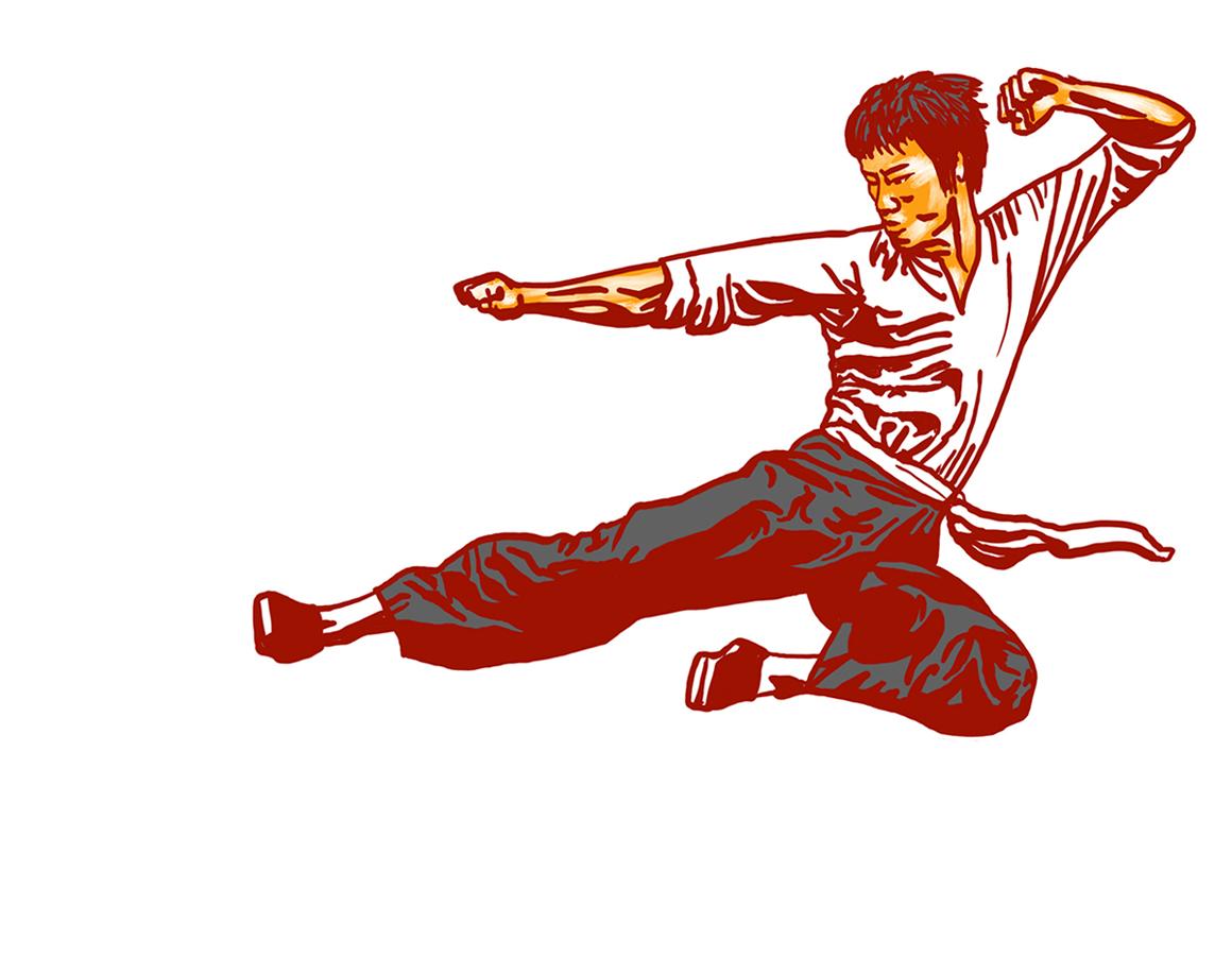 空中を飛び蹴りするブルース・リーのイラスト