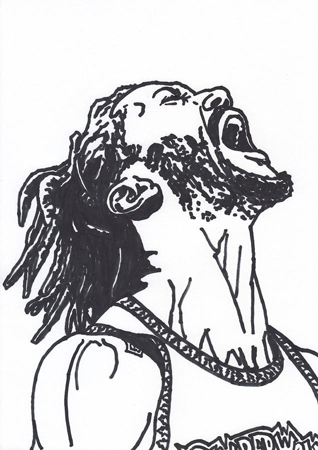 Drawing of Minnesota Timberwolves Derrick Rose shouting