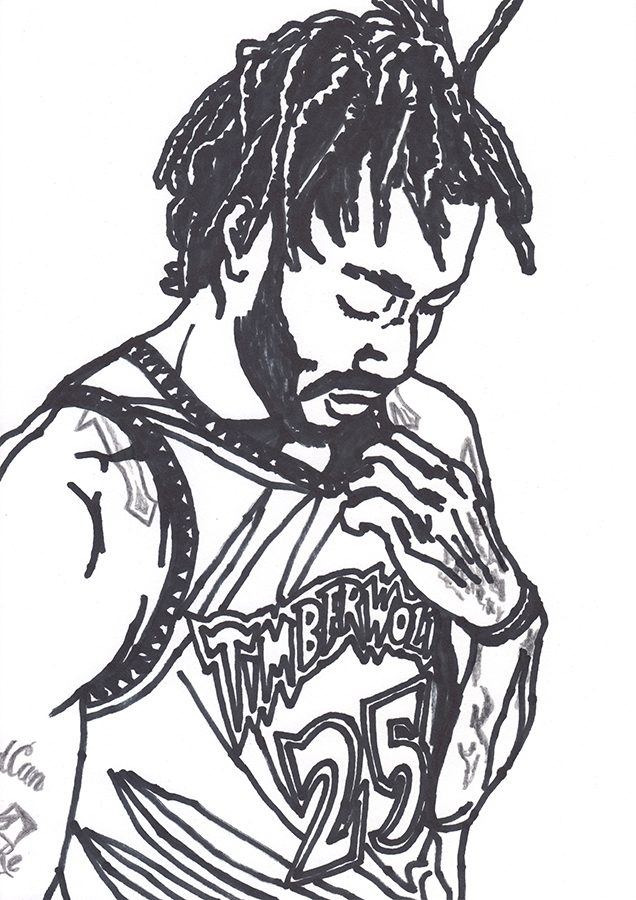 illustration of Minnesota Timberwolves Derrick Rose crying