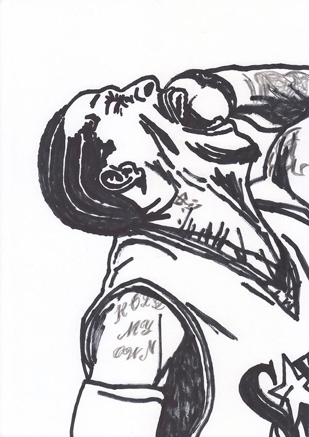 Drawing of Philadelphia 76ers Allen Iverson shouting