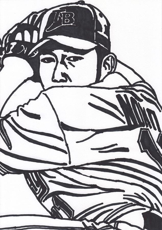 タンパベイ・デビルレイズ野茂英雄のトルネード投法の絵