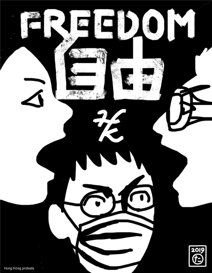 illustration of Hong Kong's young protesters fighting for democracy