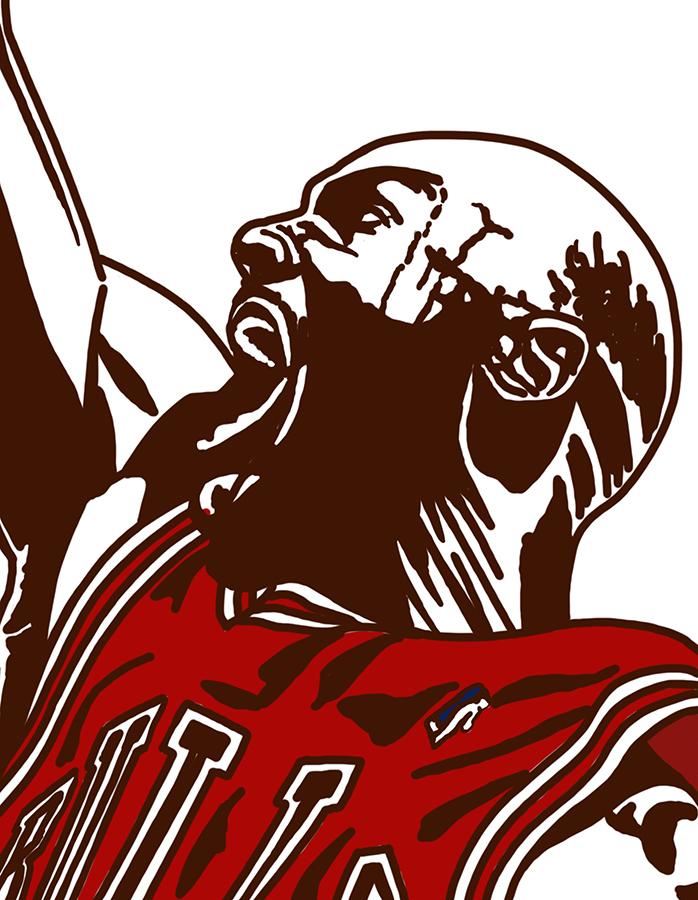 illustration of Chicago Bulls Michael Jordan playing hard