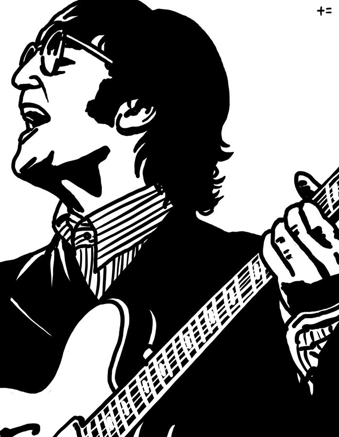 illustration of John Lennon singing in the concert