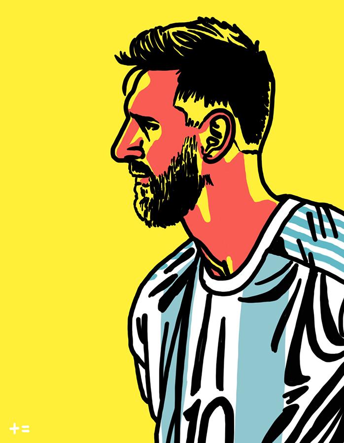 illustration of Leo Messi of Argentina national team at twilight.