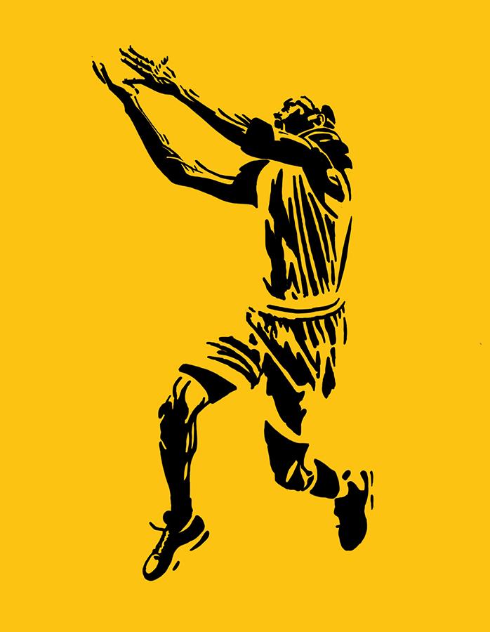 illustration of Chicago Bulls Michael Jordan shooting
