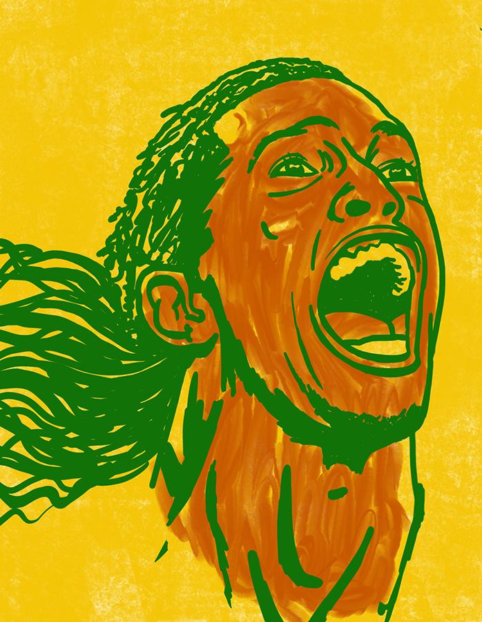 illustration of Footballer Ronaldinho celebrating his goal