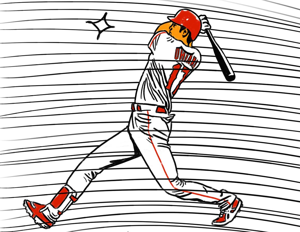 illustration of Los Angeles Angels Shohei Ohtani's swing